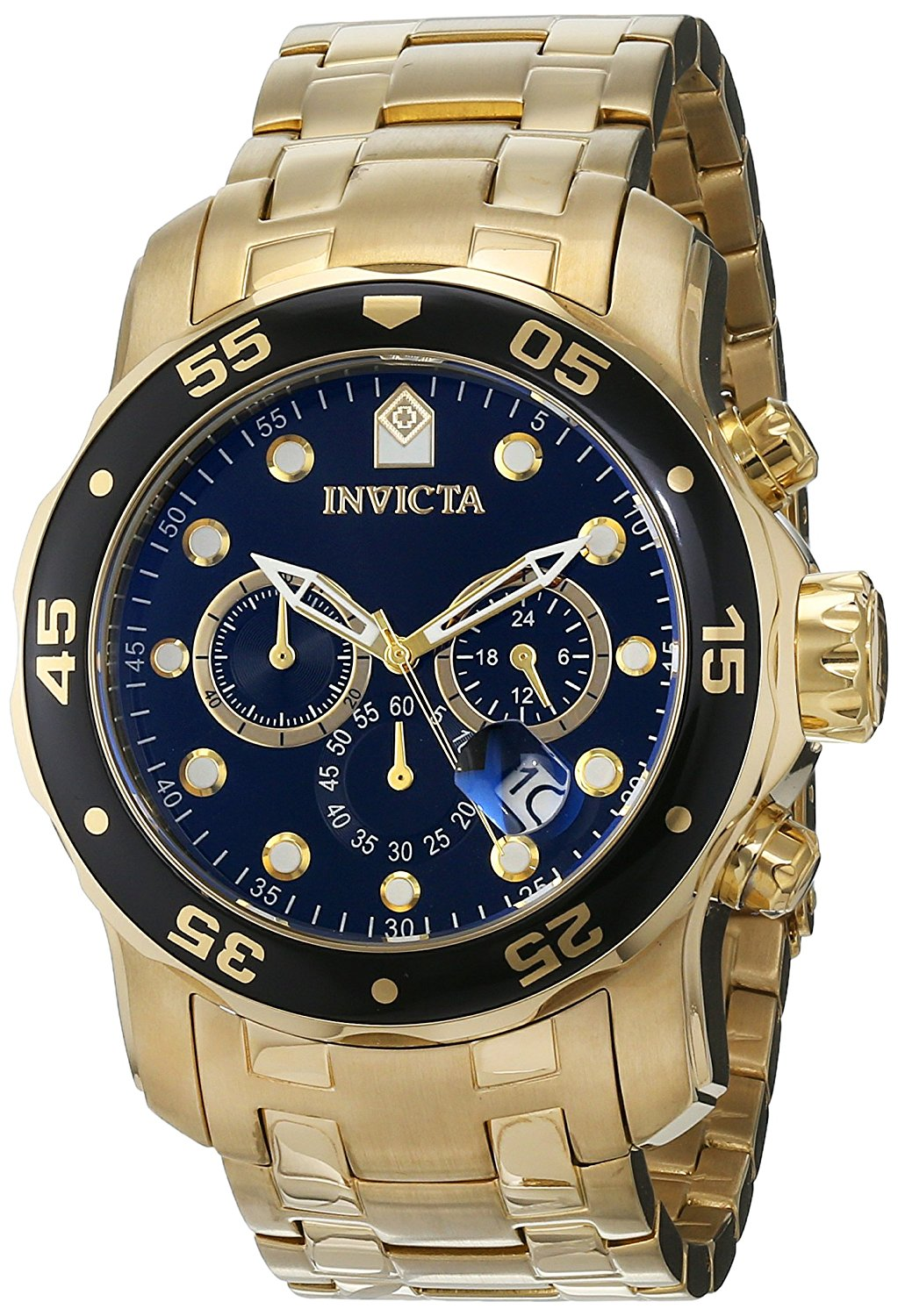 Invicta Pro Diver Gold-Tone Stainless Steel  Chronograph Mens Watch 0072
