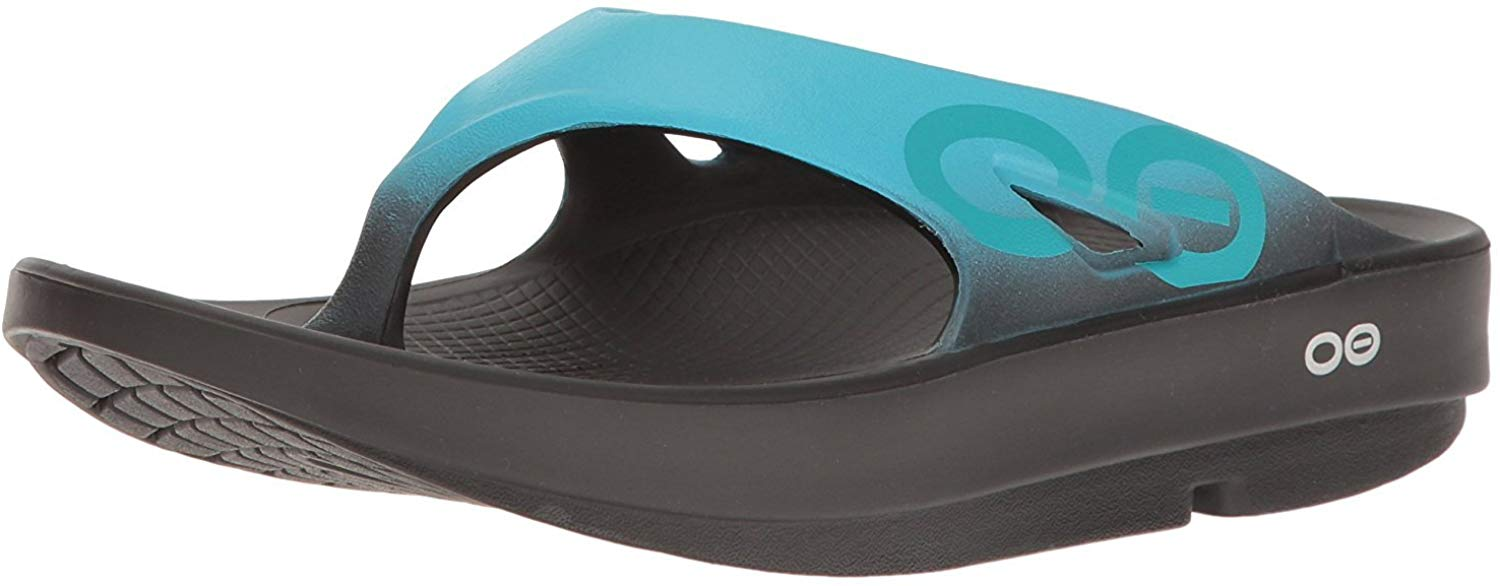 OOFOS Unisex Ooriginal Sport Thong Flip Flop - Black/Aqua - 9 Women / 7 Men