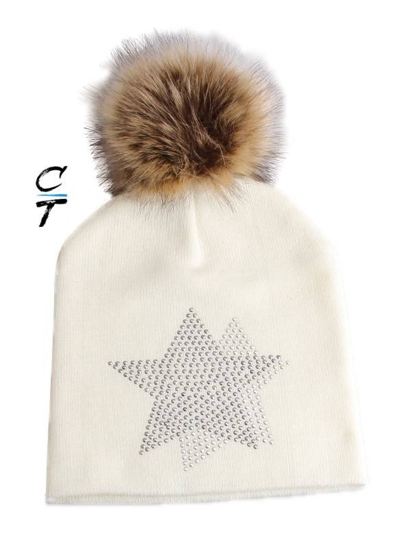 Cozy Time Star Embellished Fur Pom Hat For Extra Warmth and Comfort - White