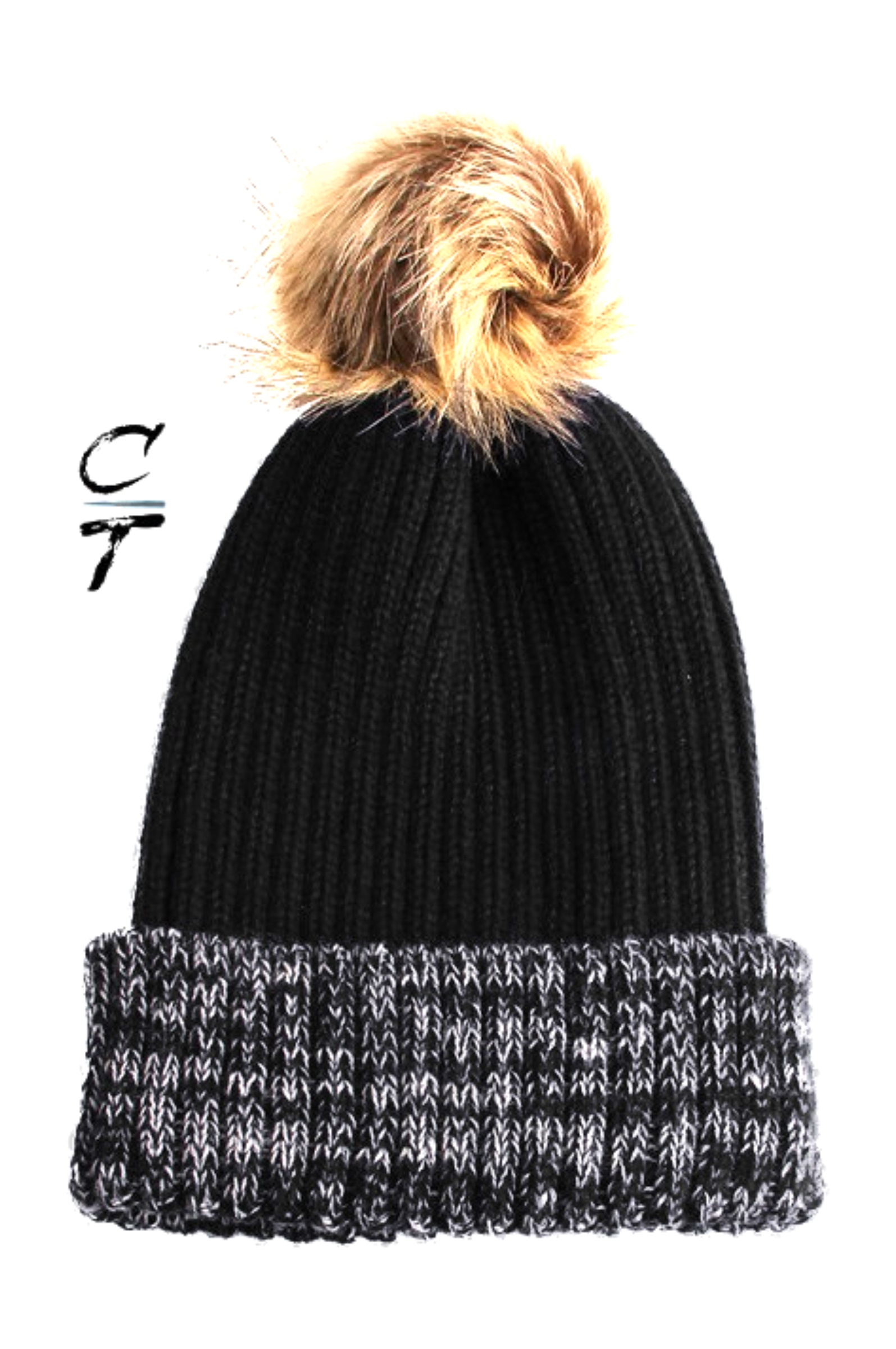 Cozy Time Two Tone Winter Fur Pom Acrylic Knitted Beanie Hats for Extra Warmth and Comfort- Black