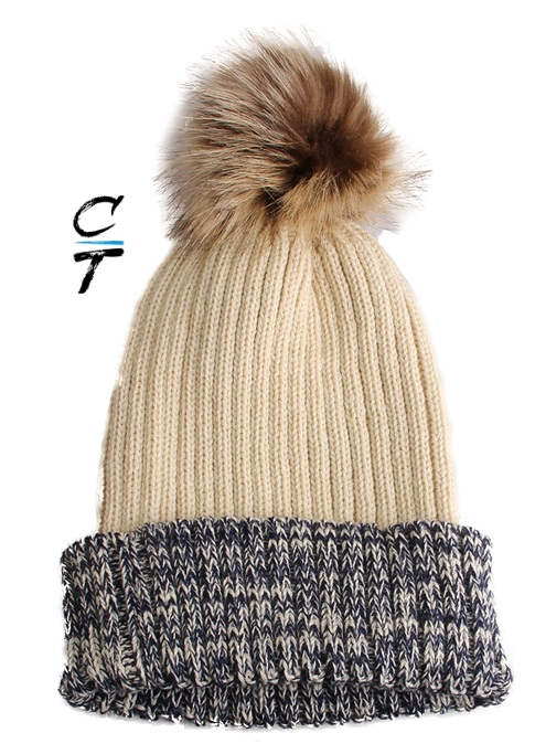 Cozy Time Two Tone Winter Fur Pom Acrylic Knitted Beanie Hats for Extra Warmth and Comfort - Ivory