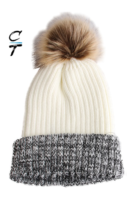 Cozy Time Two Tone Winter Fur Pom Acrylic Knitted Beanie Hats for Extra Warmth and Comfort - White