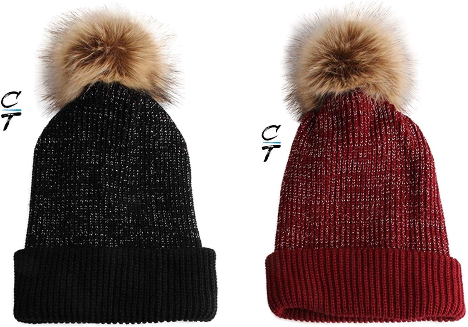 Cozy Time Slouchy Fur Pom Beanie Hat With Metallic Knitted Style for Extra Warmth and Comfort Black/ Red 2 Pack