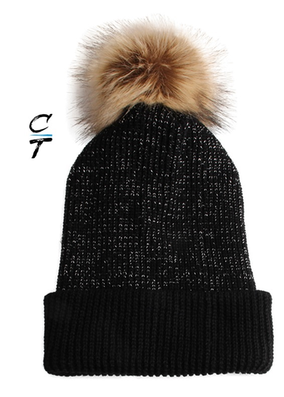 Cozy Time Slouchy Fur Pom Beanie Hat With Metallic Knitted Style for Extra Warmth and Comfort - Black