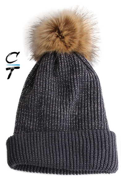 Cozy Time Slouchy Fur Pom Beanie Hat With Metallic Knitted Style for Extra Warmth and Comfort - Gray