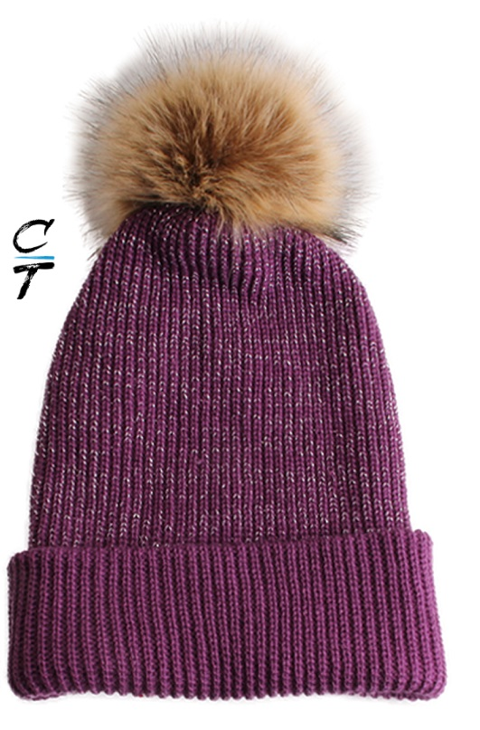 Cozy Time Slouchy Fur Pom Beanie Hat With Metallic Knitted Style for Extra Warmth and Comfort - Purple