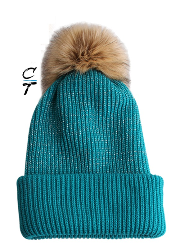 Cozy Time Slouchy Fur Pom Beanie Hat With Metallic Knitted Style for Extra Warmth and Comfort - Teal