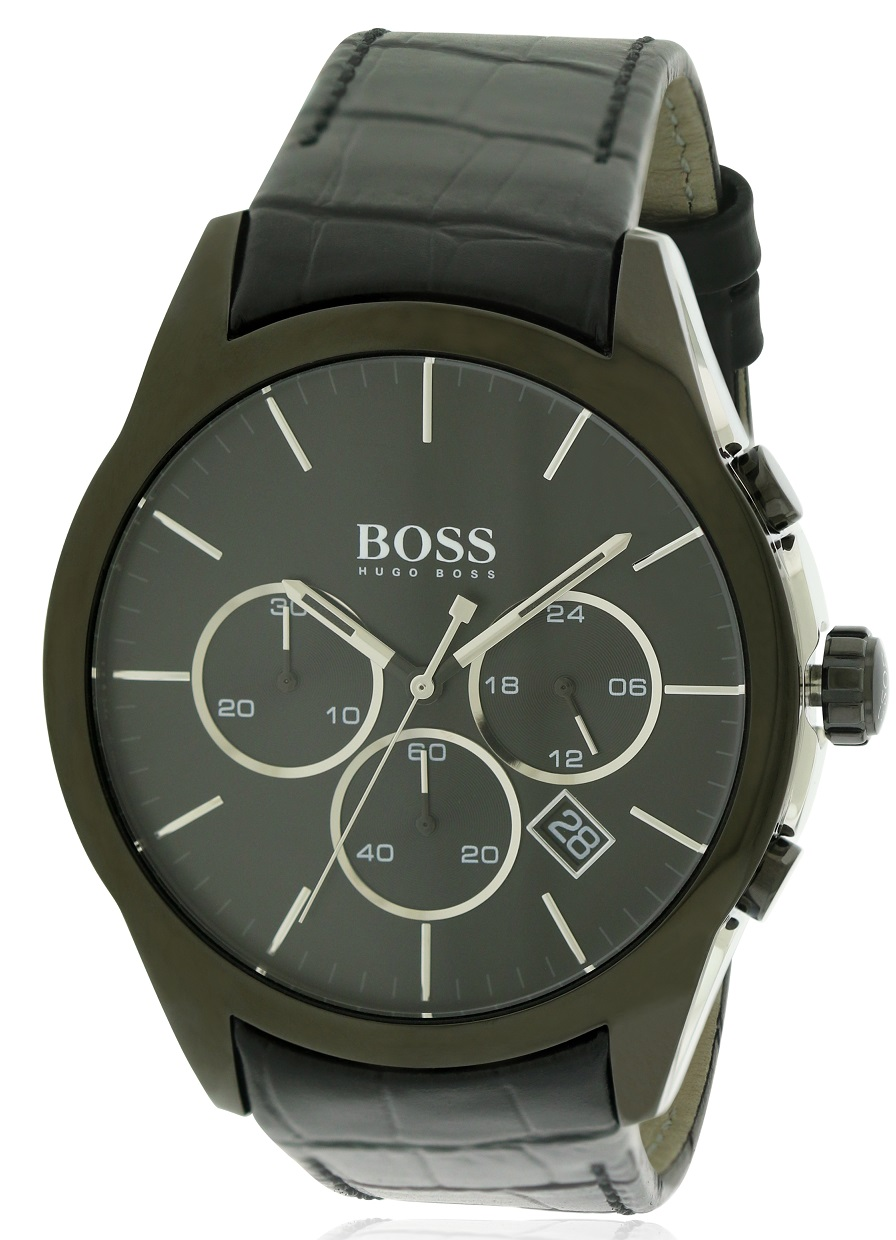 Hugo Boss Leather Chronograph Mens Watch 1513367