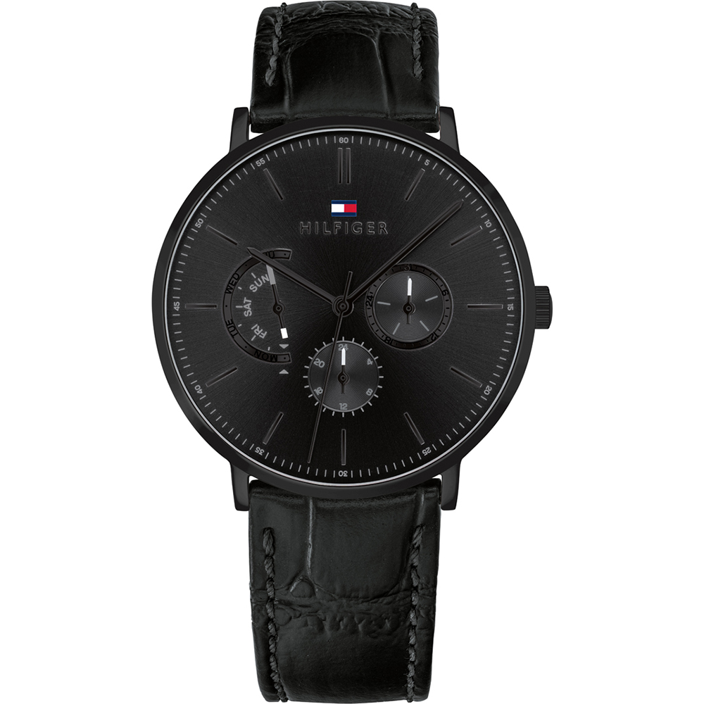 Tommy Hilfiger Black Leather Mens Watch 1710378
