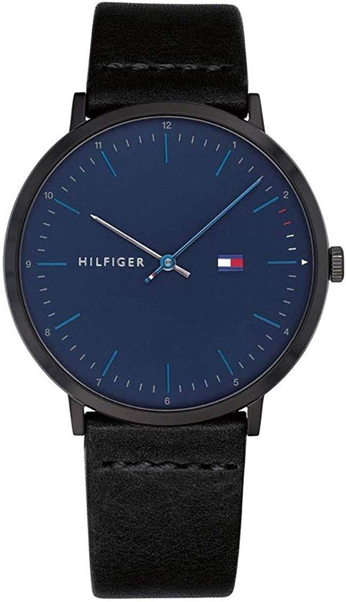 Tommy Hilfiger Black Leather Mens Watch 1791462
