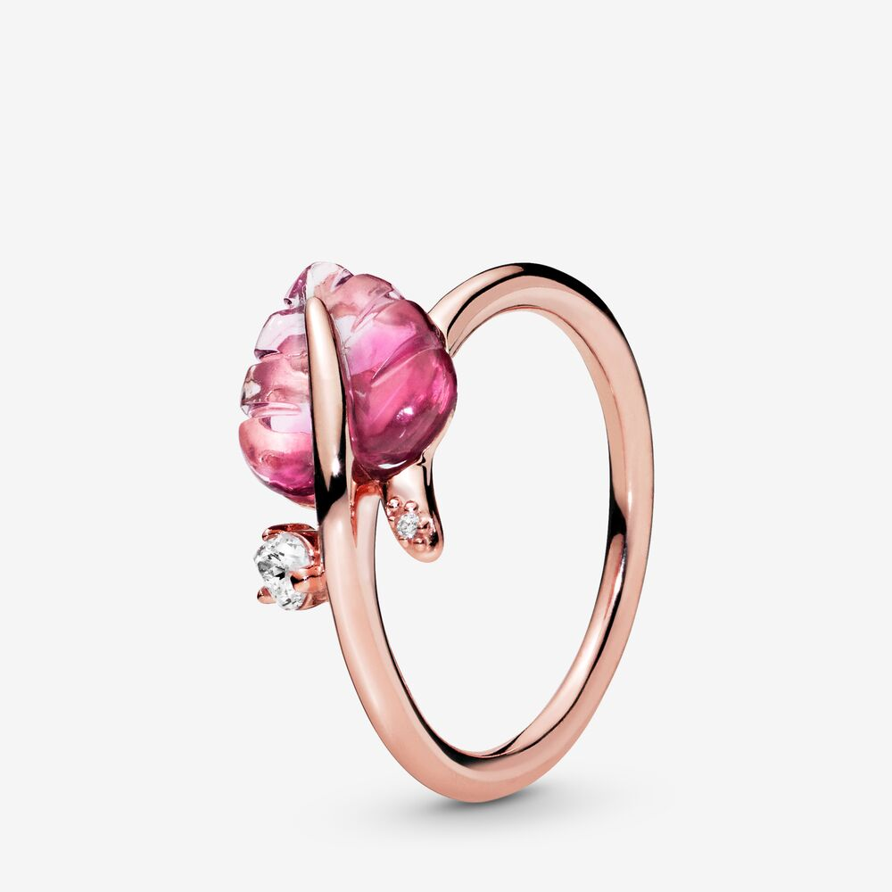 PANDORA Pink Murano Glass Leaf Ring Size 7.5