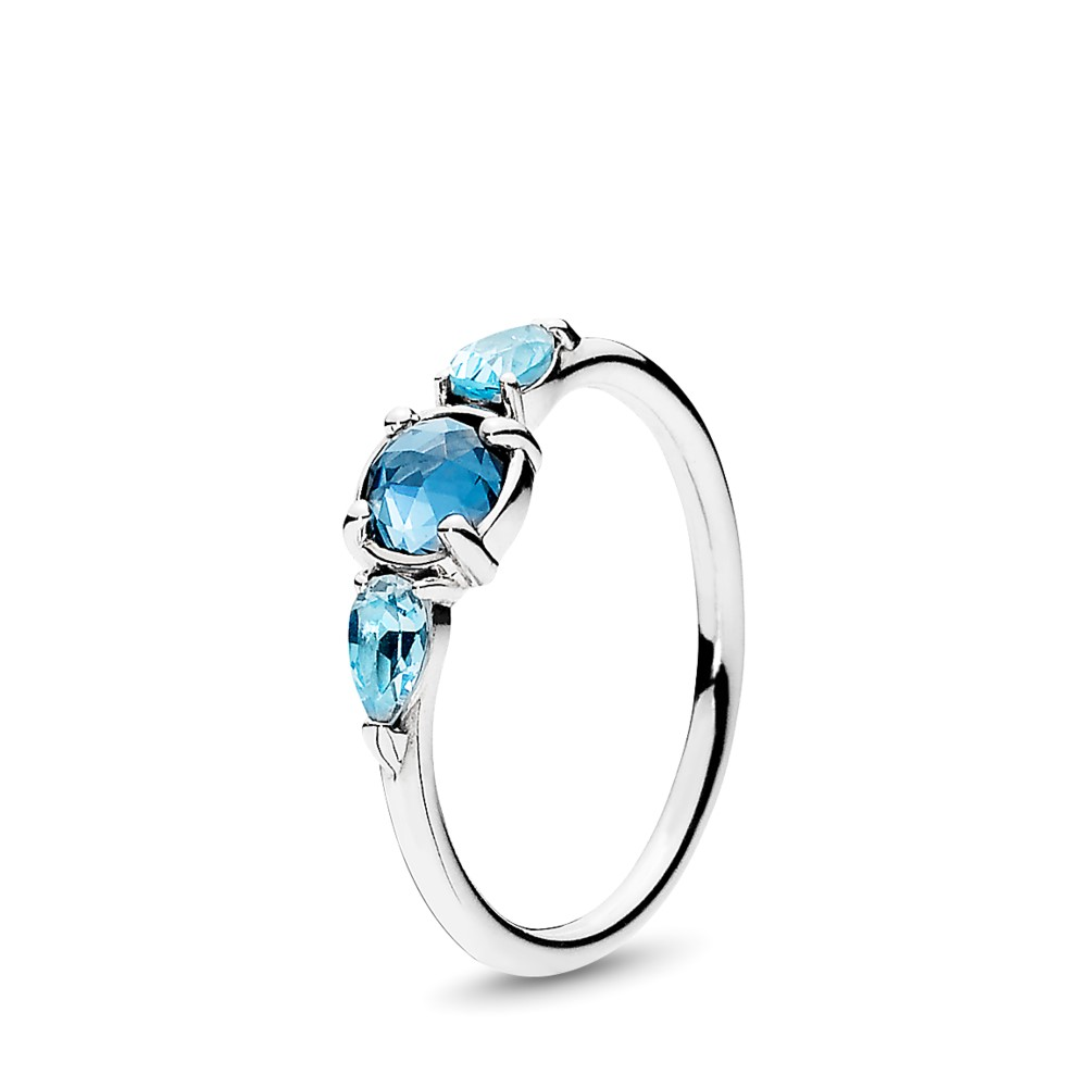 Pandora Ring Patterns of Frost with Moonlight Blue and Sky-Blue Crystals - 191016NMB-54