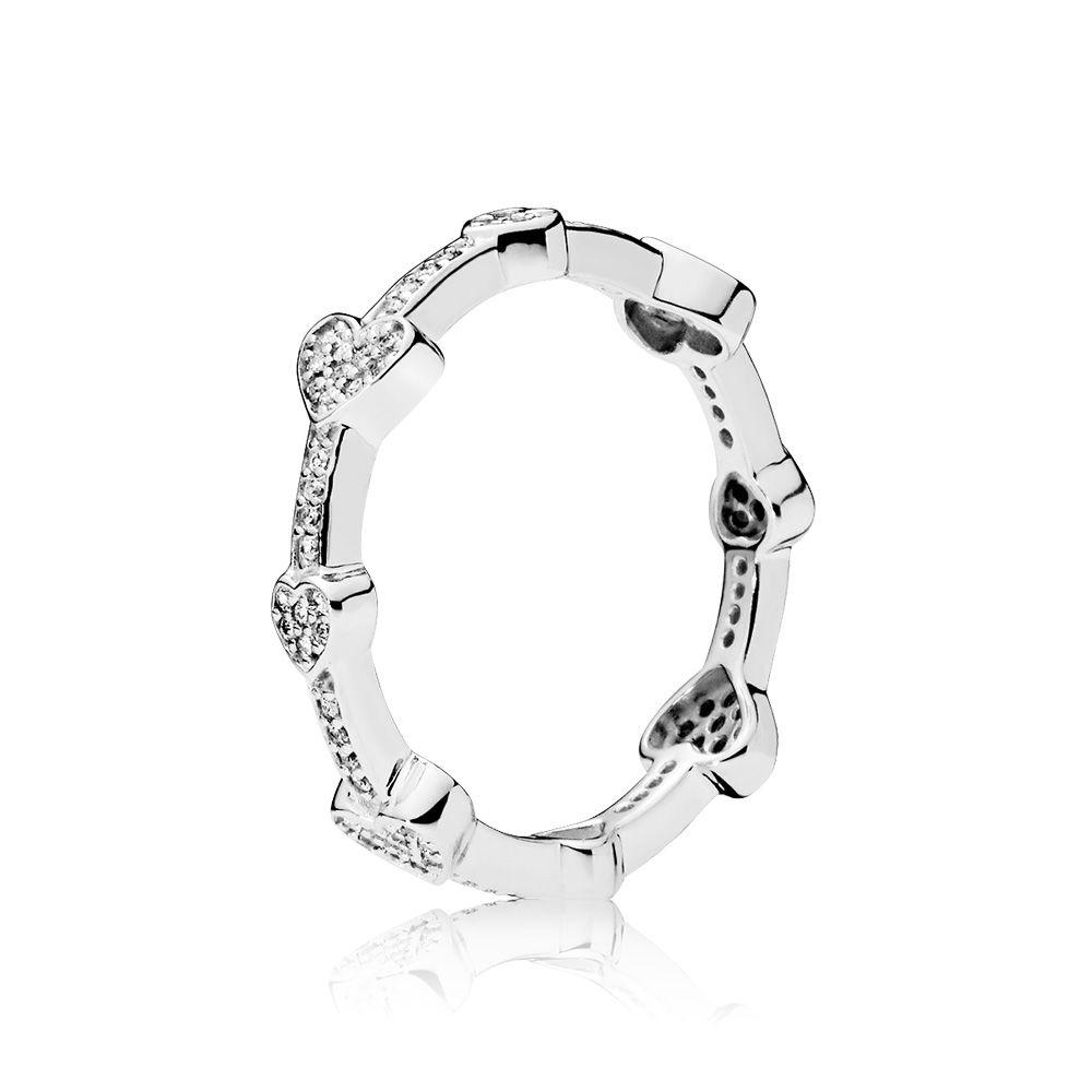 bb49488b9 PANDORA Alluring Hearts Ring Size 56 - 197729CZ-56, Solar Time Inc