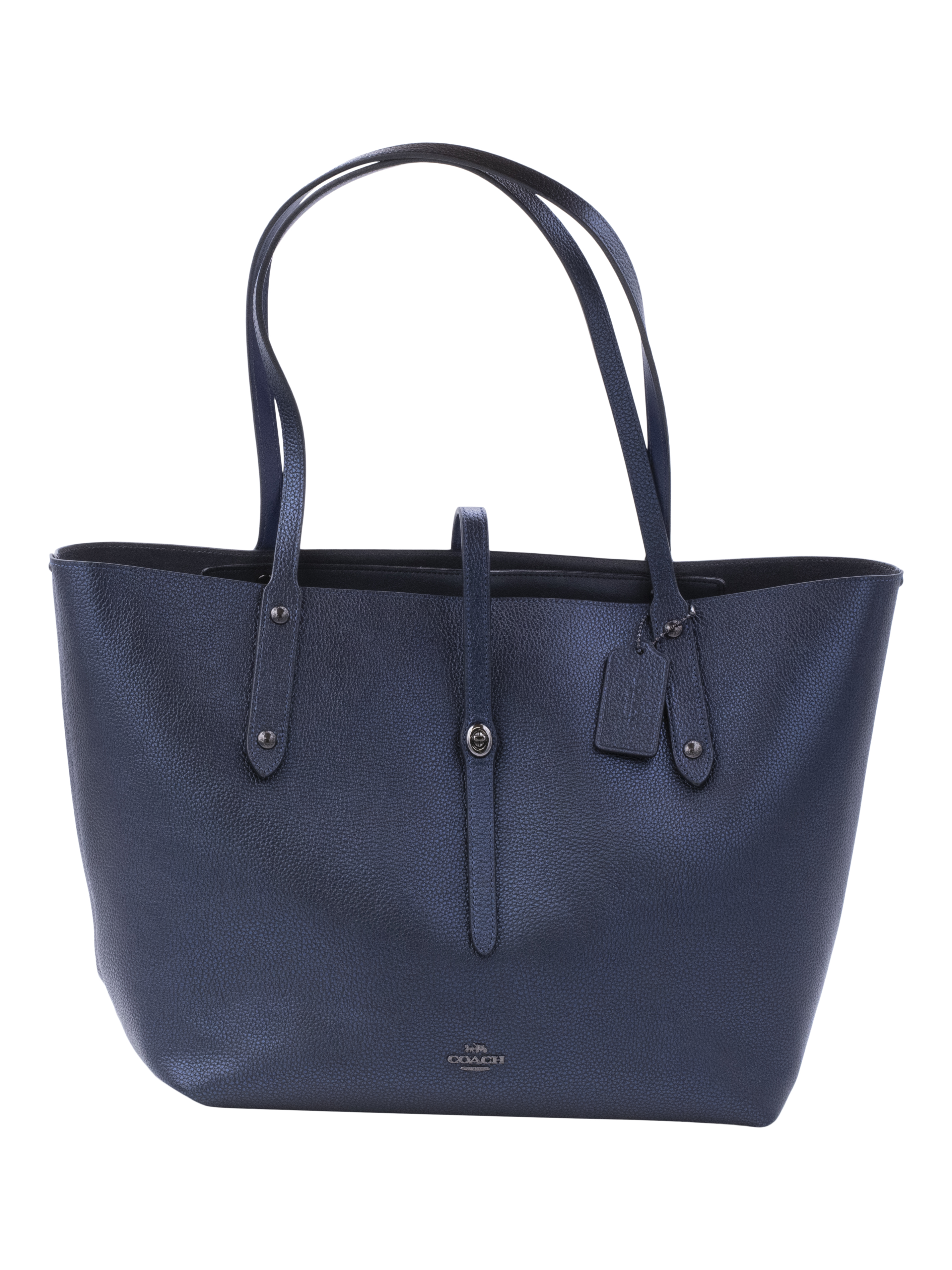 COACH Womens Metallic Leather Market Tote Gunmetal/Metallic Blue
