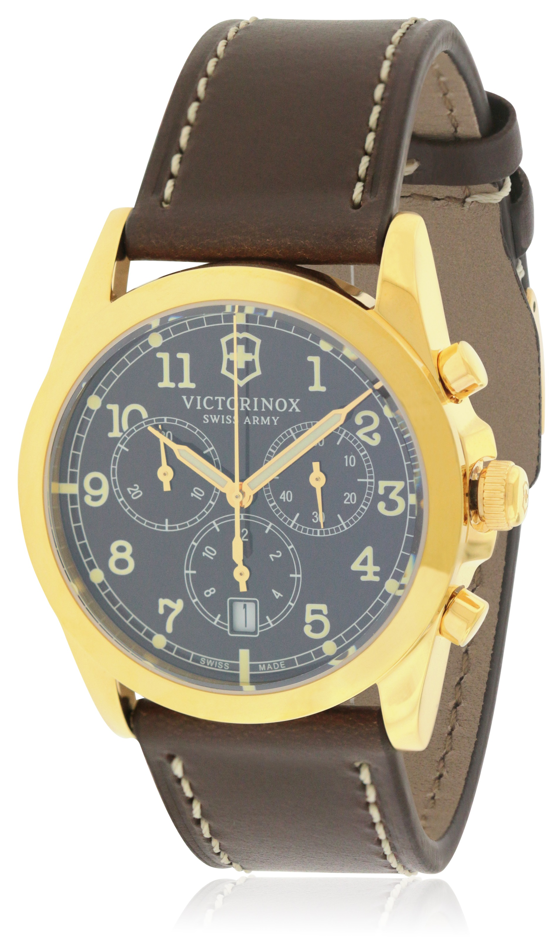 Swiss Army Victorinox Infantry Chronograph Leather Mens Watch 241647