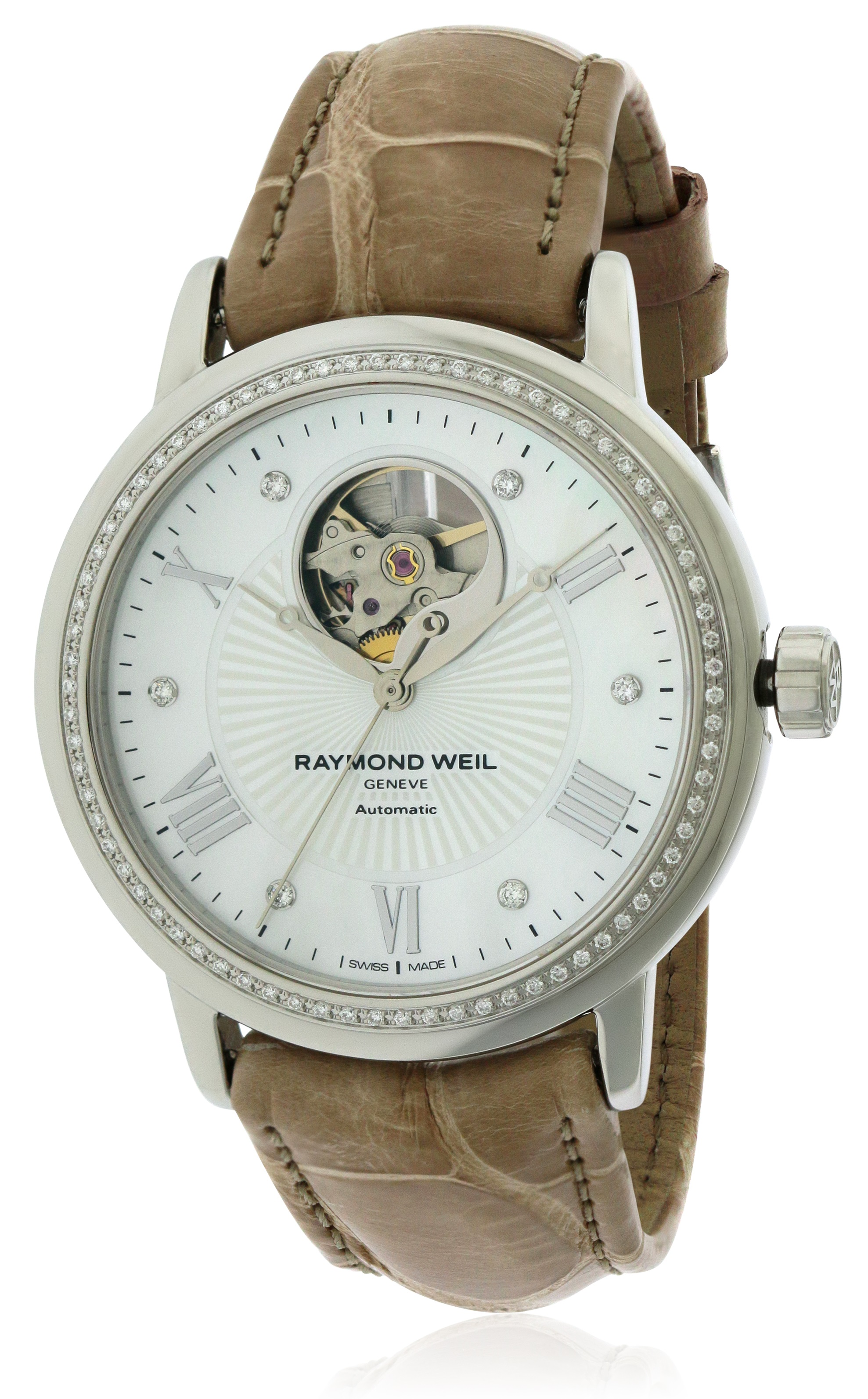 Raymond Weil Maestro Open Dial Leather Ladies Watch 2827-LS4-00966
