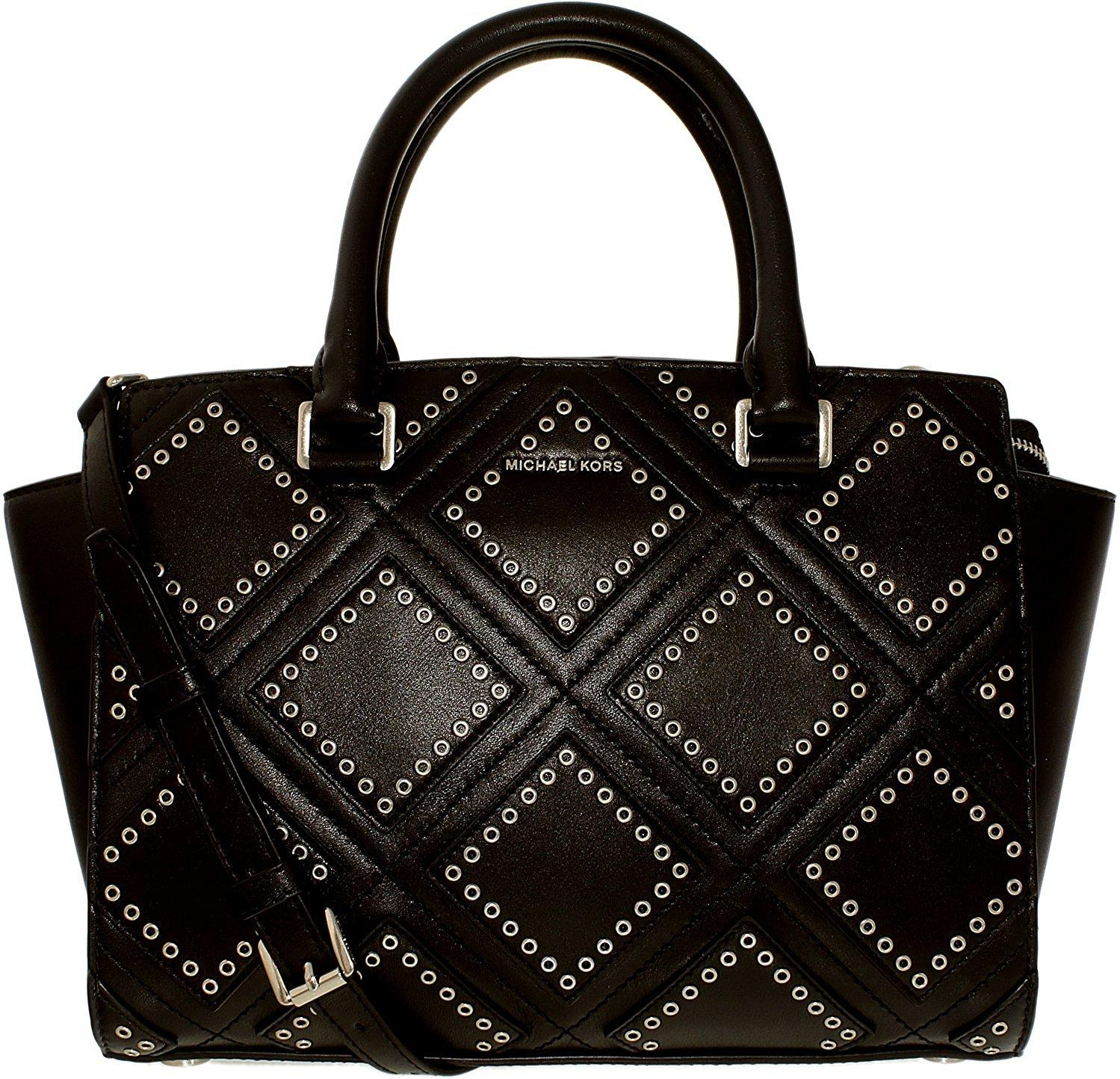 9e1cd4cc1bc1 Michael Kors Selma Medium Diamond Grommet Leather Satchel - Black -  30F6ADXS2L-001