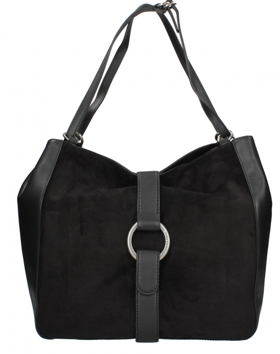 8f47abd098f4ed Michael Kors Quincy Large Suede and Leather Shoulder Tote - Black -  30F6AQYE3S-001