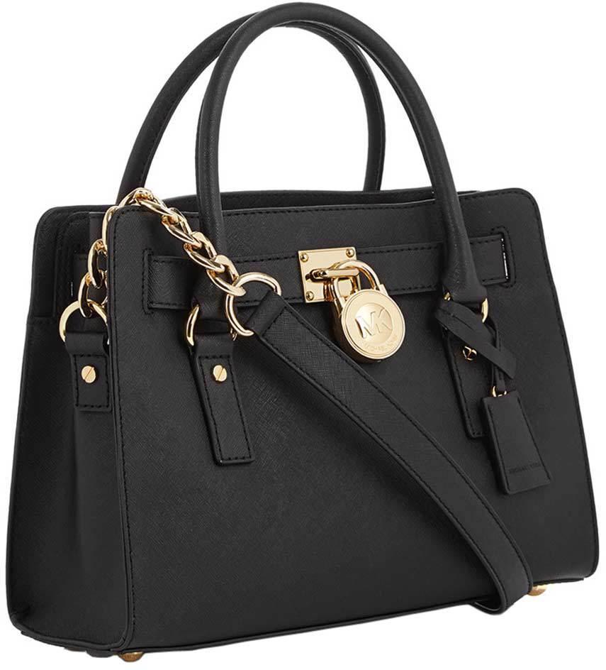 af290b4a29a3 Michael Kors Hamilton Satchel Handbag - Black - 30S2GHMS3L-001
