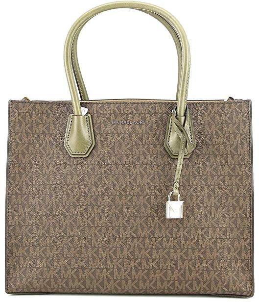 cb49a9d8483710 Michael Kors Mercer Large Logo Tote - Brown/Olive - 30S7GM9T3V-247