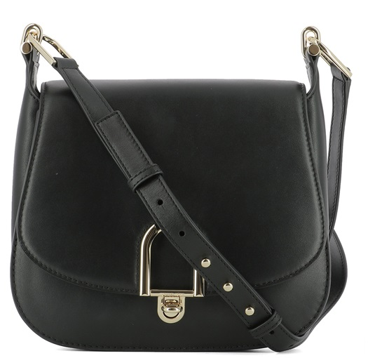 Michael Kors Delfina Large Leather Saddlebag - Black - 30T7GDZM3L-001