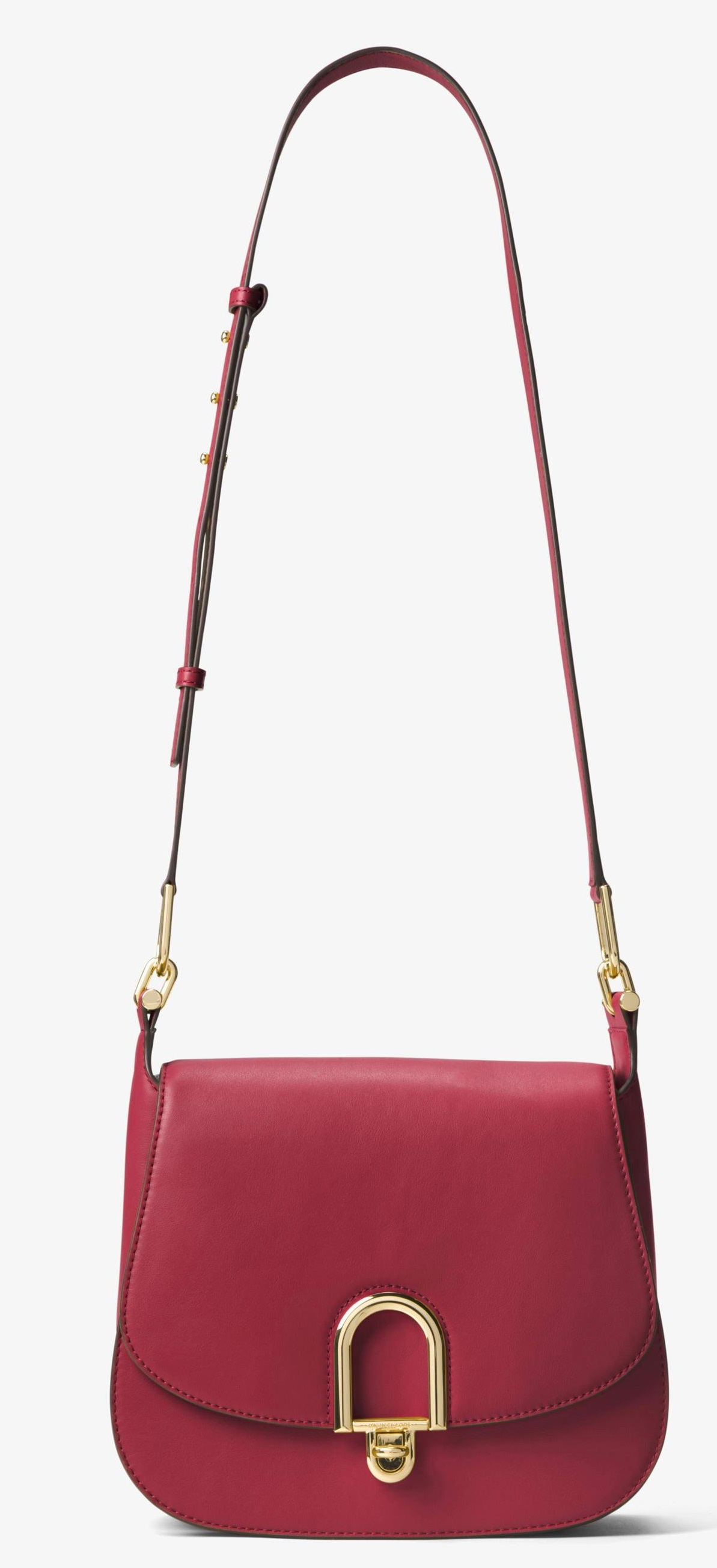 Michael Kors Delfina Large Leather Saddlebag - Burnt Red - 30T7GDZM3L-361