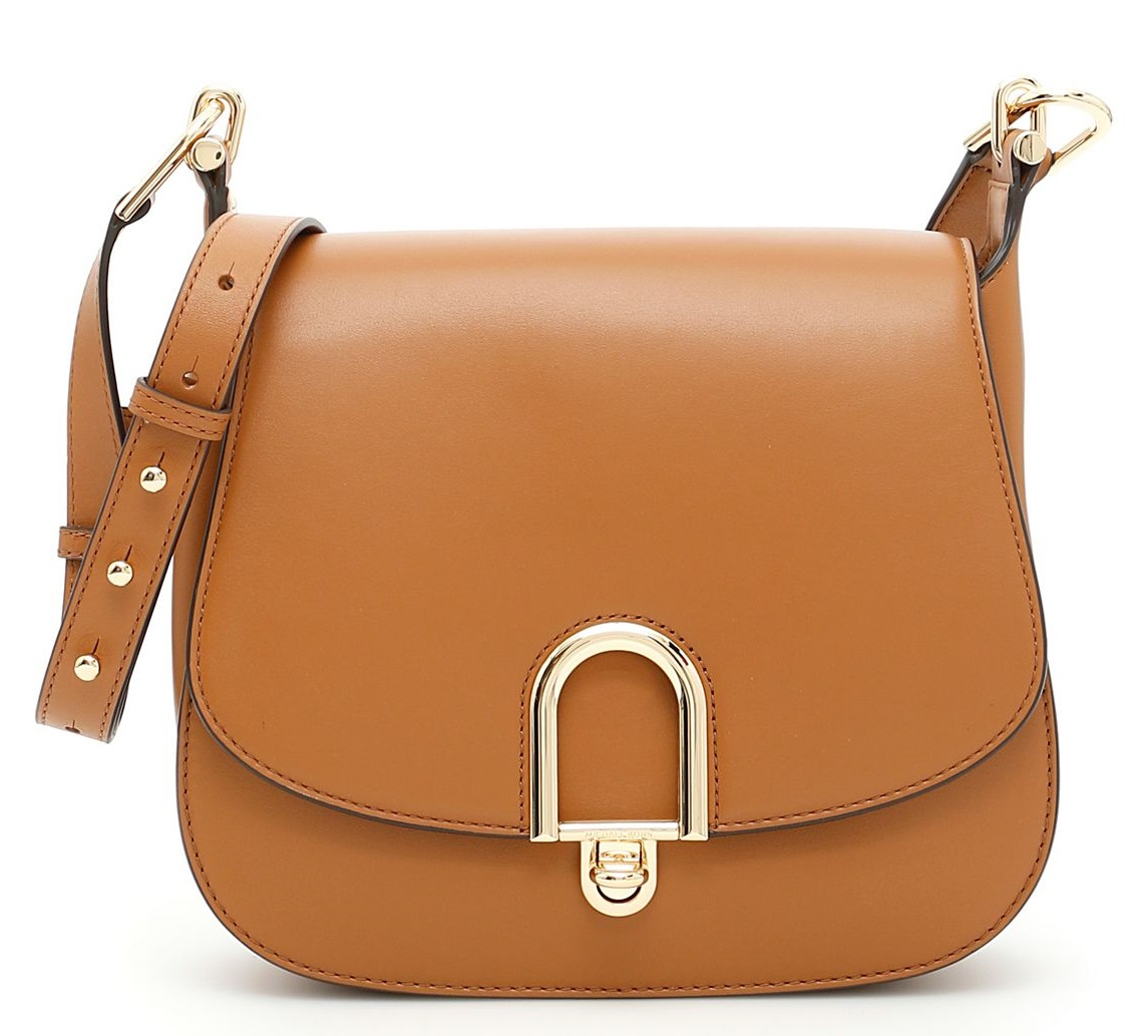 Michael Kors Delfina Large Leather Saddlebag - Acorn - 30T7GDZM3L-532