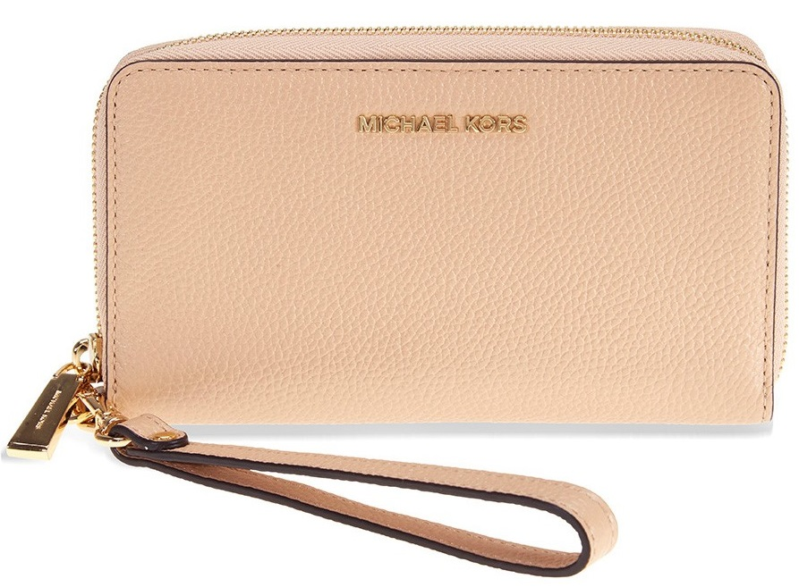 8d9b21ada84fba Michael Kors Mercer Large Leather Smartphone Wristlet - Oyster -  32F6GM9E3L-134, Solar Time Inc