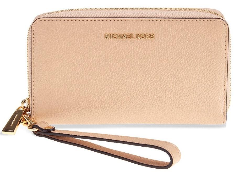 6a290a2dd507 Michael Kors Mercer Large Leather Smartphone Wristlet - Oyster -  32F6GM9E3L-134, Solar Time Inc