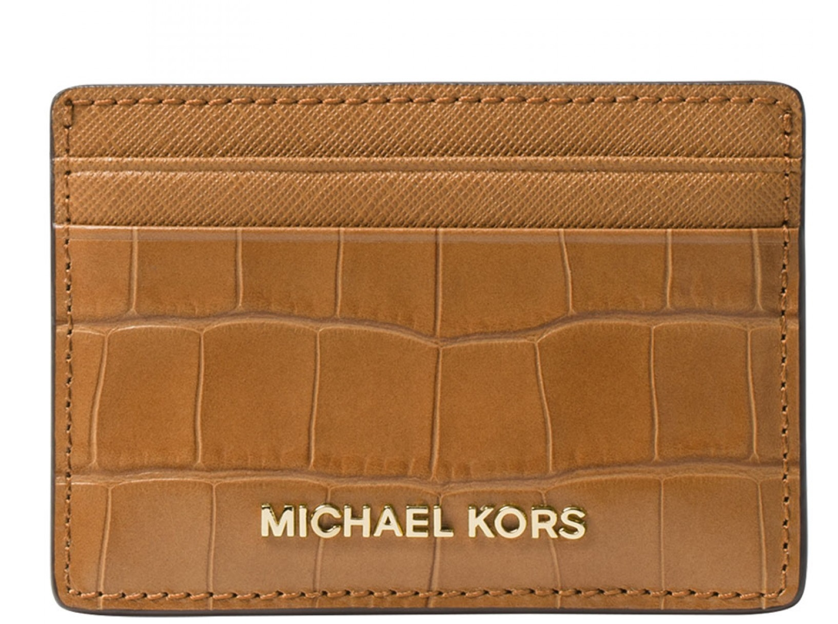 392c74e029b8 Michael Kors Money Pieces Crocodile-effect Leather - Card Holder - Acorn -  32F7GF6D0E-