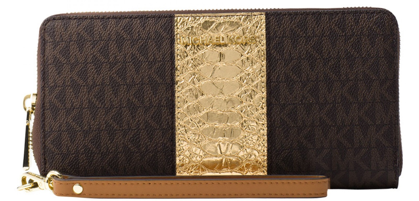2e1ac675c Michael Kors Jet Set Travel Logo and Embossed-Leather Continental Wristlet  - Brown - 32F7GF6Z4B