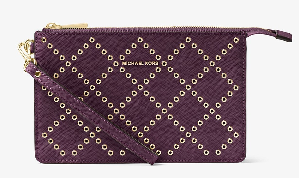Michael Kors Daniela Grommeted Leather Wristlet - Purple - 32F7GFDU8U-599