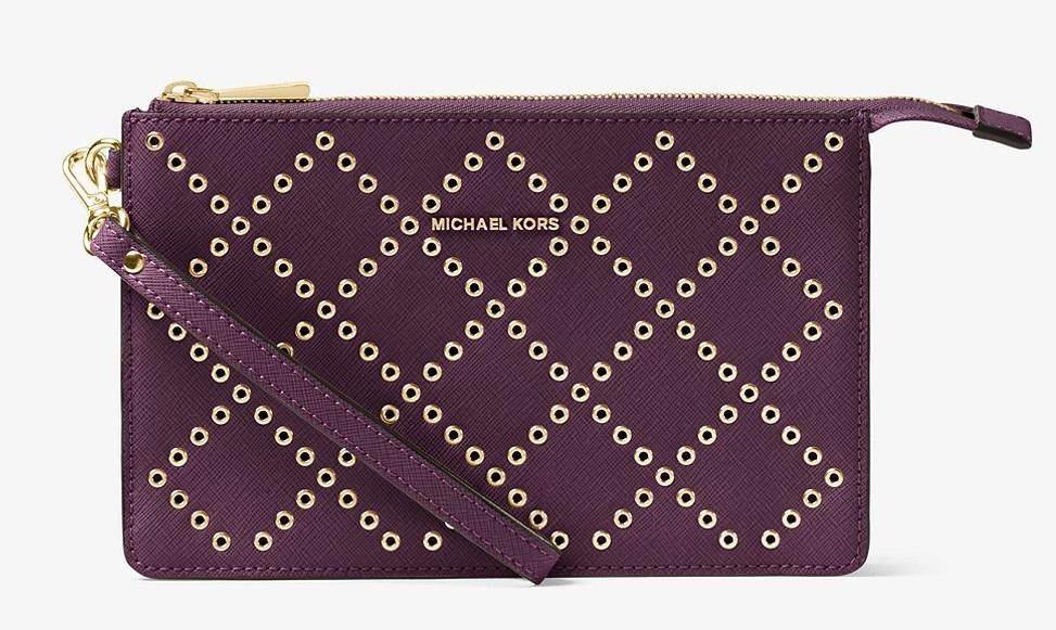 8b6ed4d121a6 Michael Kors Daniela Grommeted Leather Wristlet - Purple - 32F7GFDU8U-599