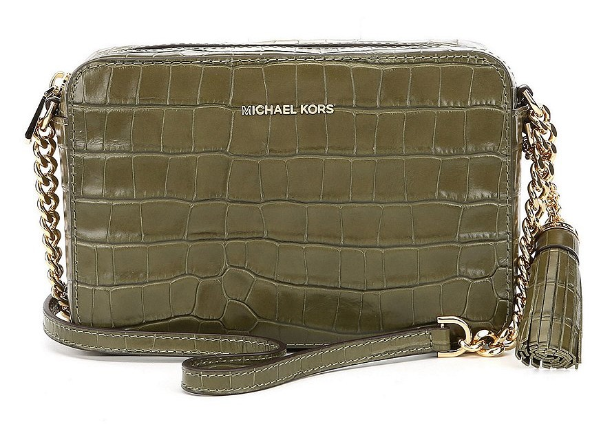 cdb6c5e00180 Michael Kors Ginny Embossed-Leather - Crossbody - Olive - 32F7GGNM2E-333