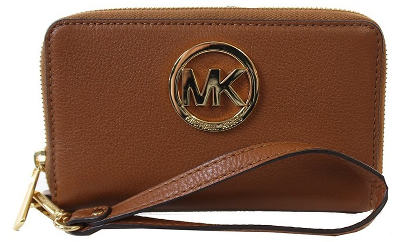 80edf550feb0 Michael Kors Fulton Luggage Brown Large Flat Leather Phone Case - Brown -  32H5GFTE4L-230