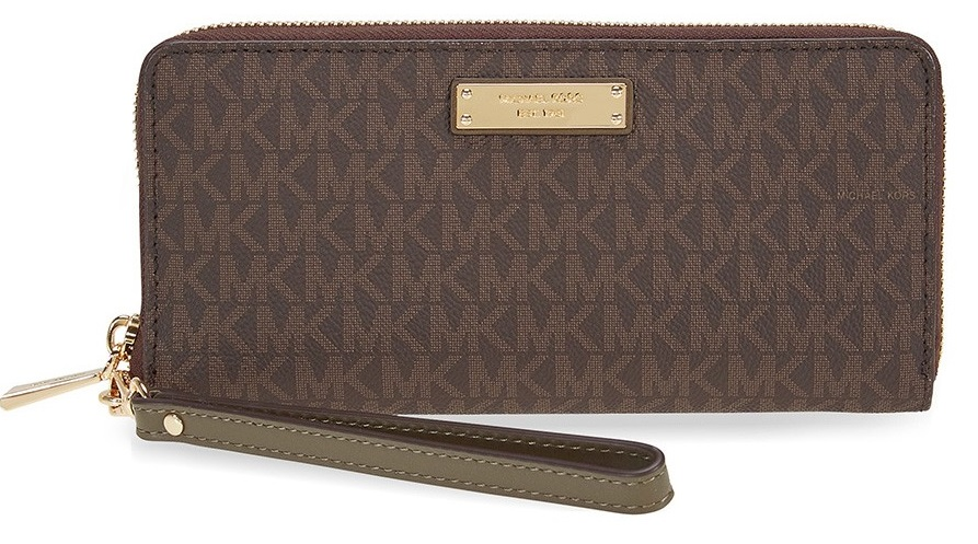 776e8995d820 Michael Kors Jet Set Travel Logo Continental - Wristlet - Brown Olive -  32S7GTTE9B-