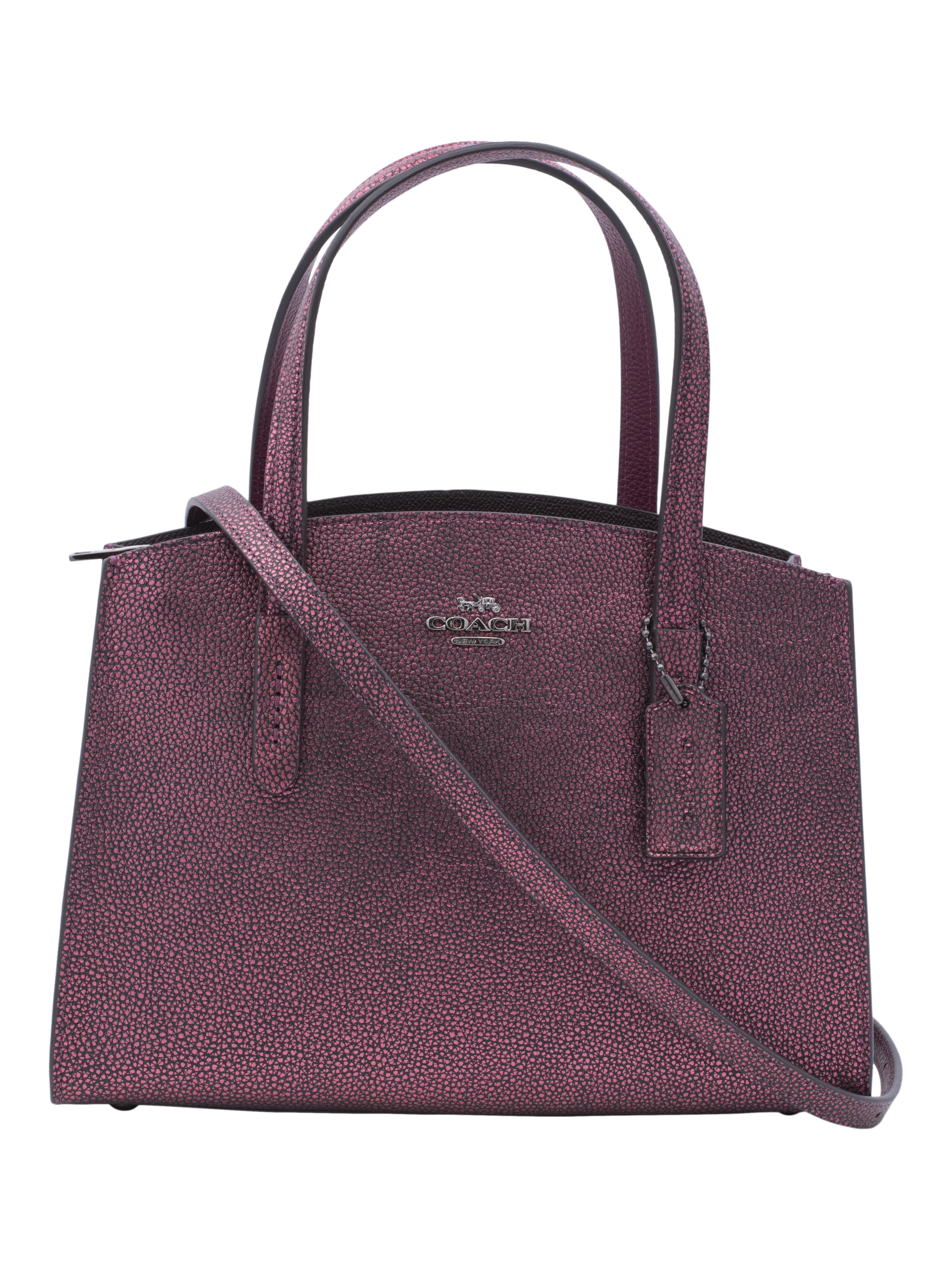 COACH Leather Metallic Charlie 28 (Metallic Berry Multi)