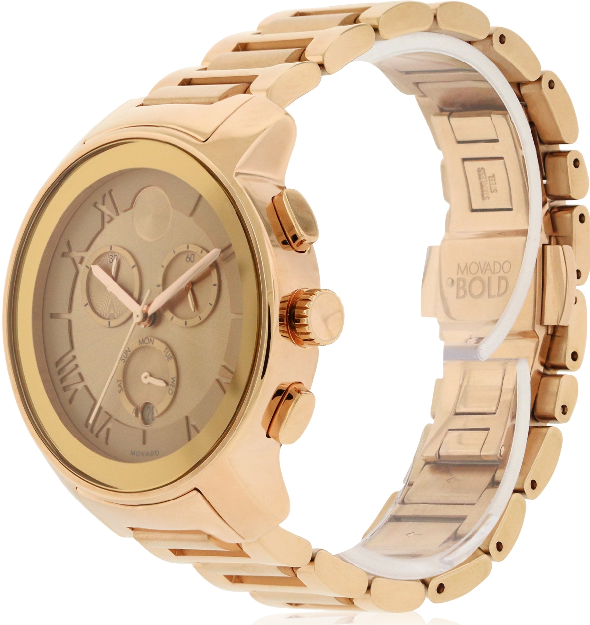8ccb562f0 Movado Bold Rose Gold Ion Chronograph Ladies Watch 3600210, Solar Time Inc