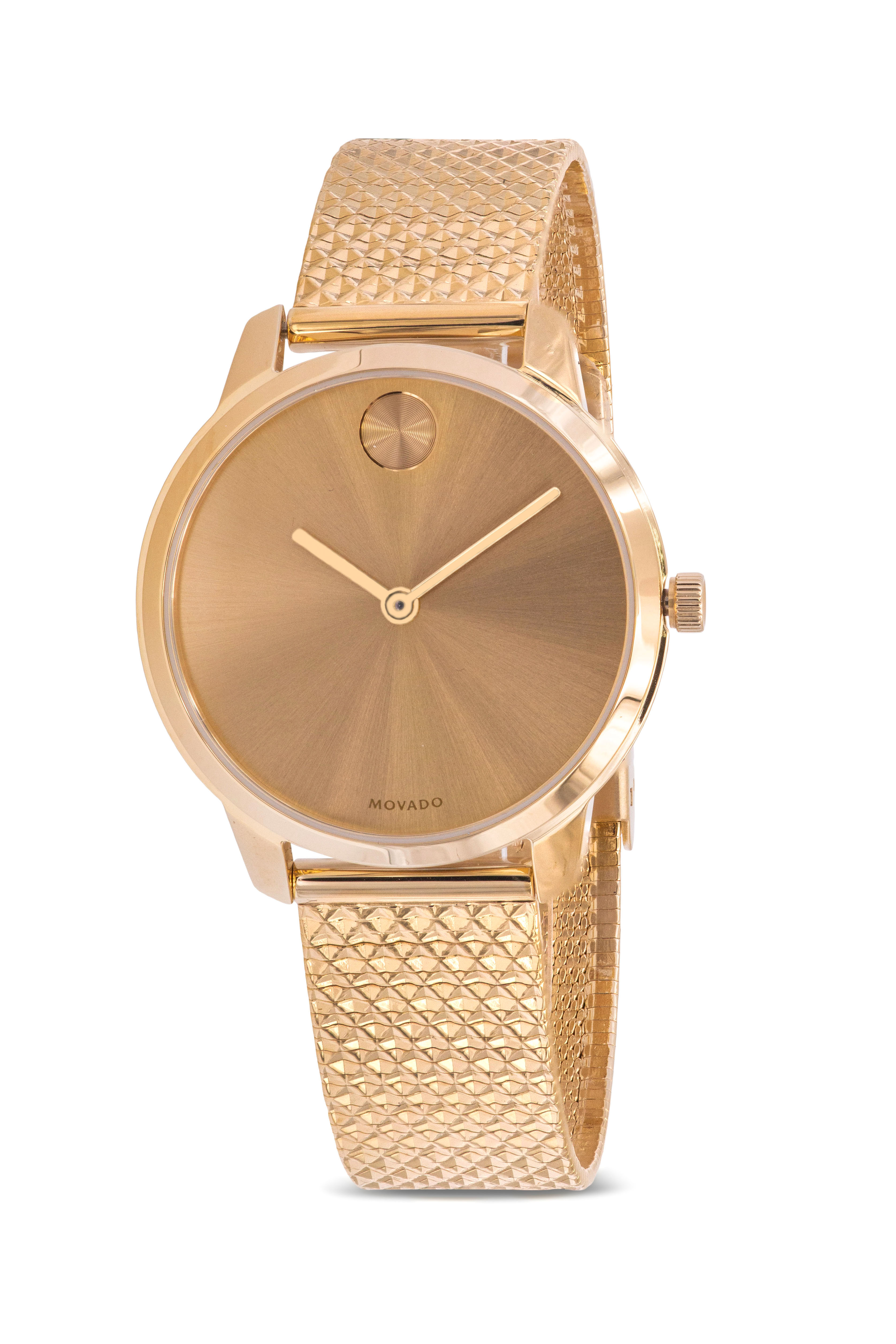 Movado Bold Gold-Tone Mesh Ladies Watch 3600598