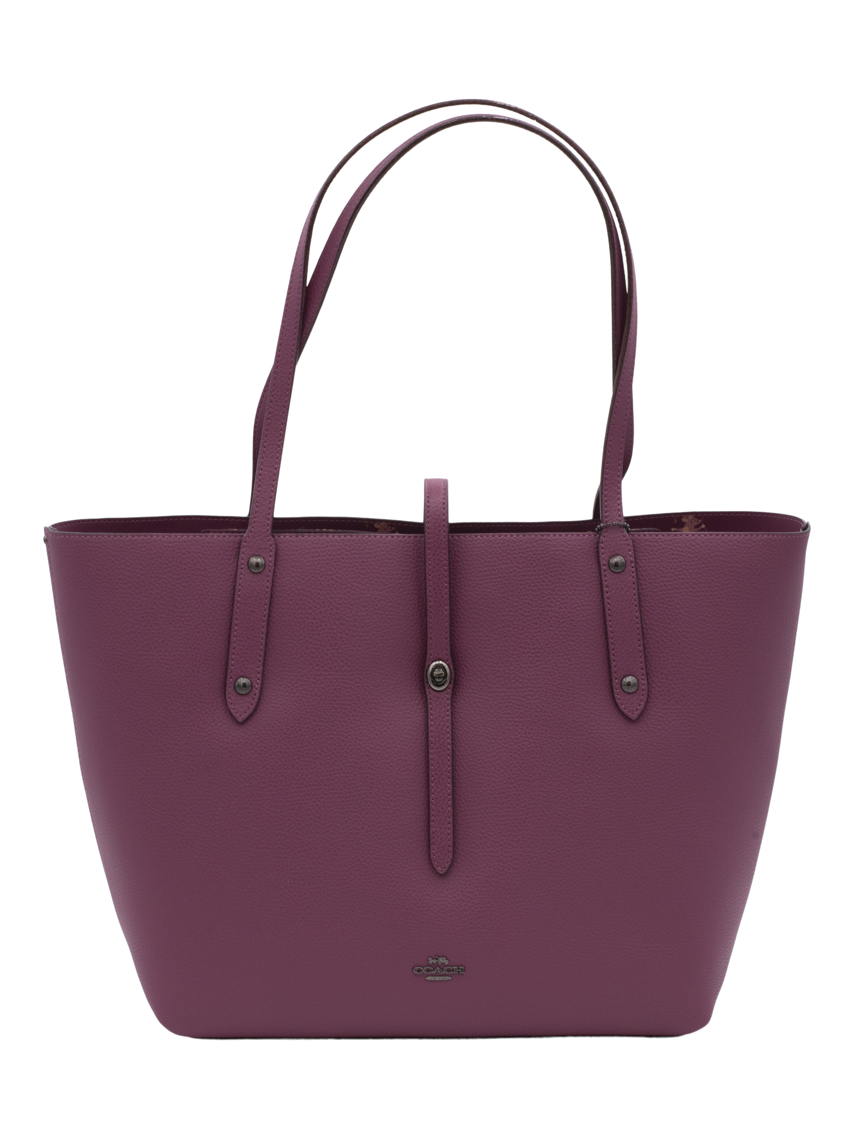 COACH Womens Mouse Print Interior Market Tote Gunmetal/Dark Berry