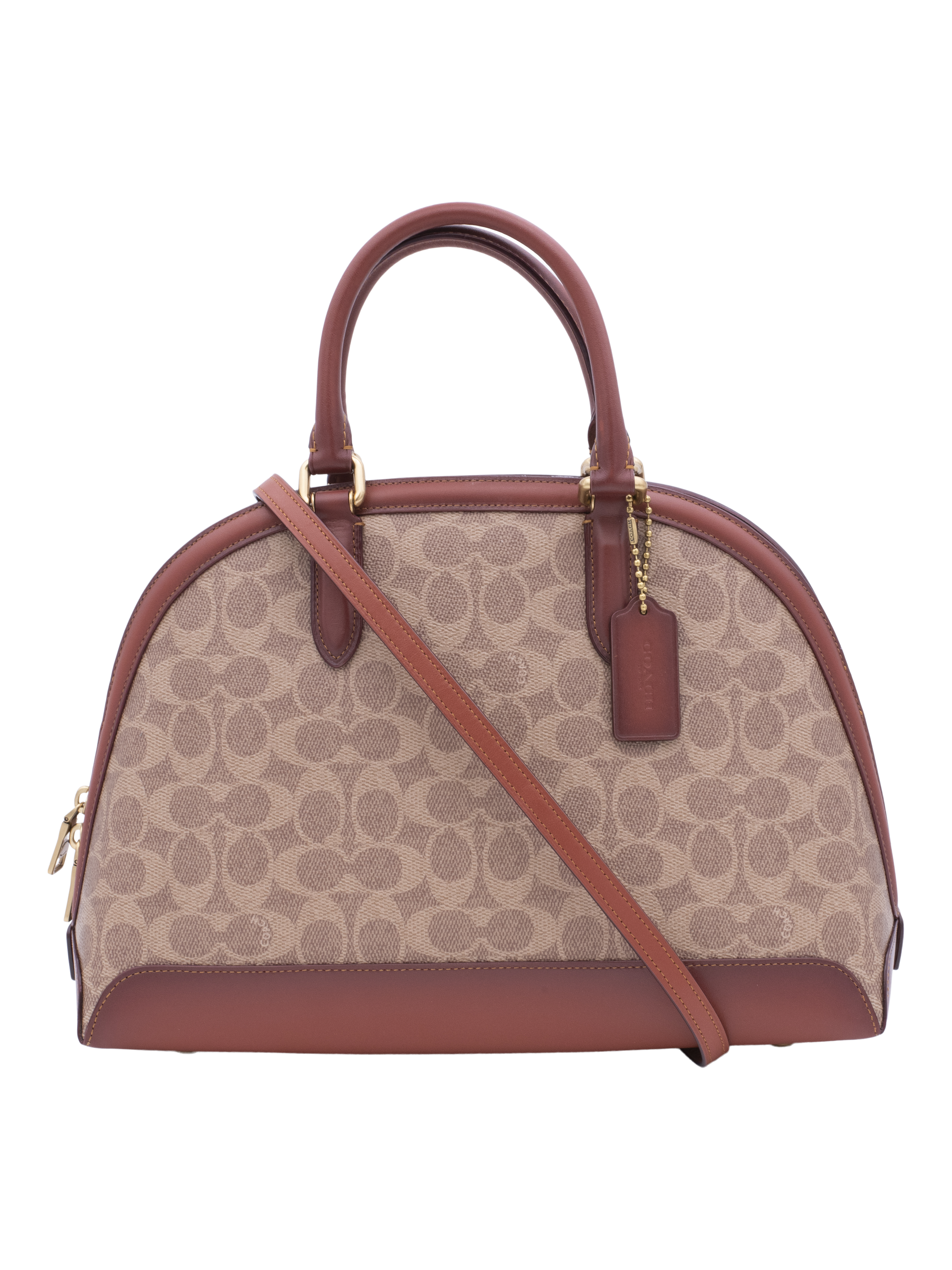 COACH Womens Coated Canvas Signature Quinn Satchel B4/Tan Rust