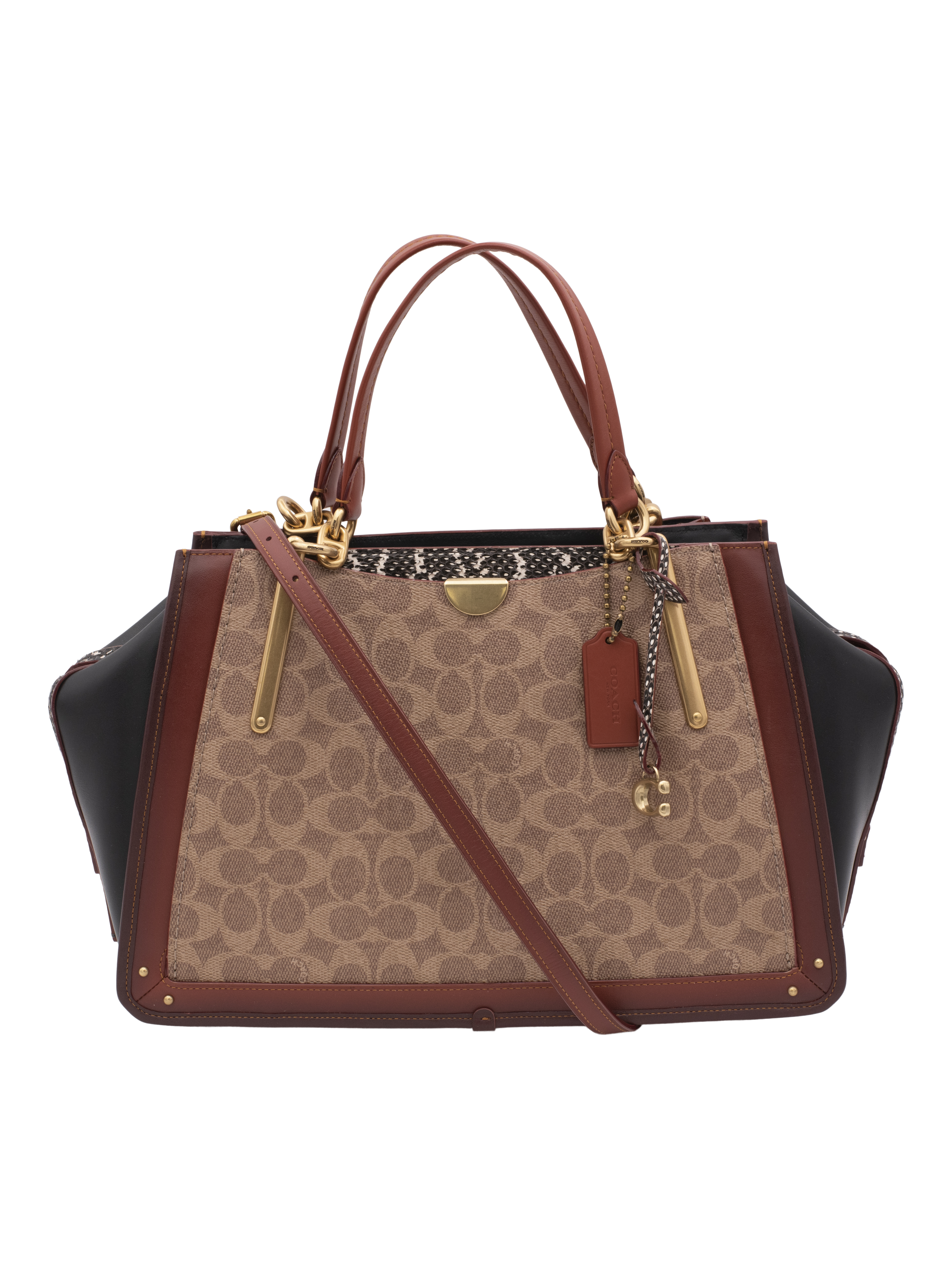 Coach Dreamer 36 in Signature Canvas with Snakeskin detail Handbag
