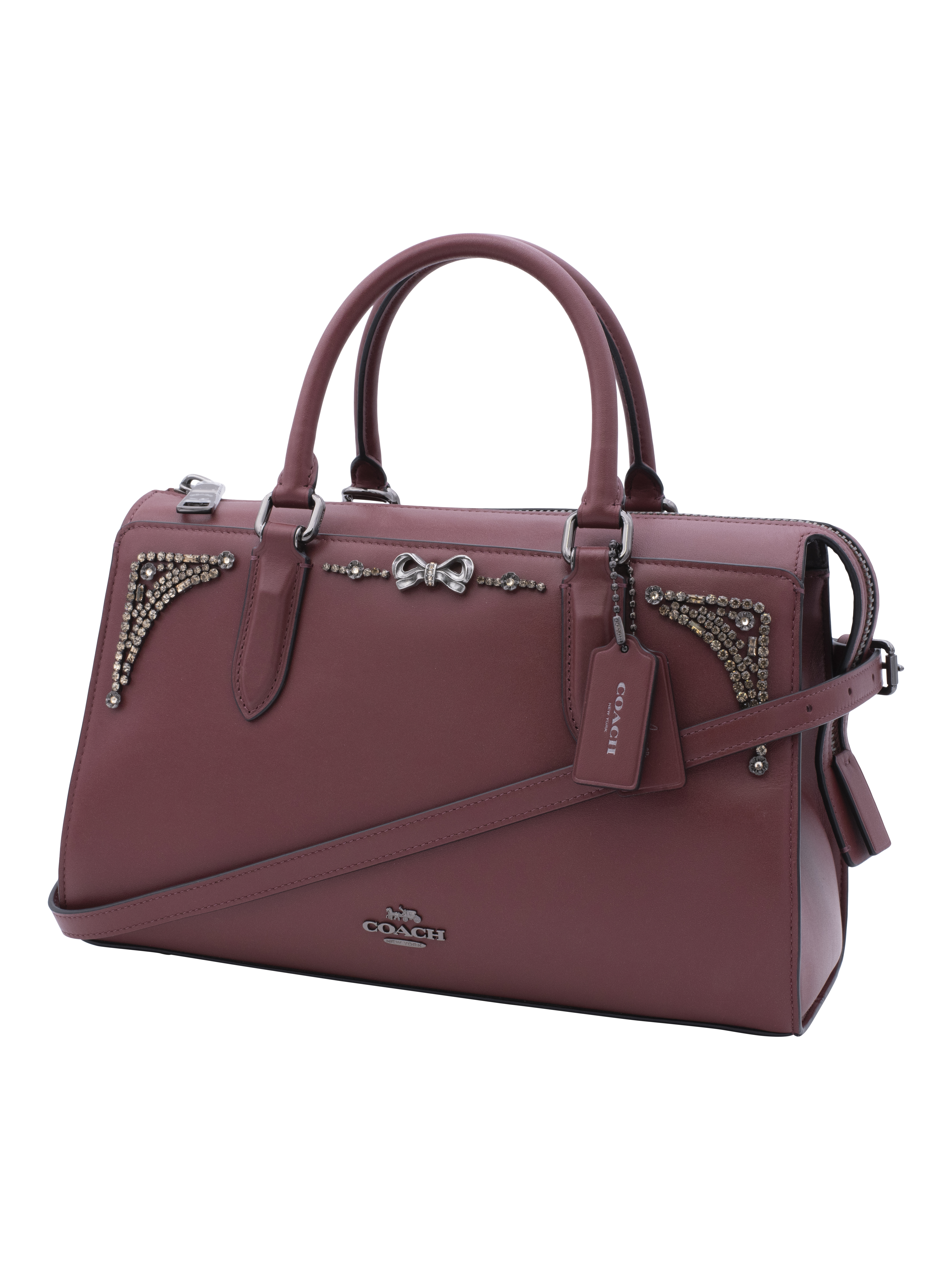 COACH Womens Crystal Embellished Selena Bond Bag Gunmetal/Wine