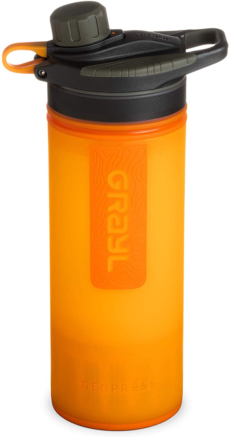 GRAYL Geopress 24 oz Water Purifier for Global Travel Backpacking Hiking and Survival -  Visibility Orange