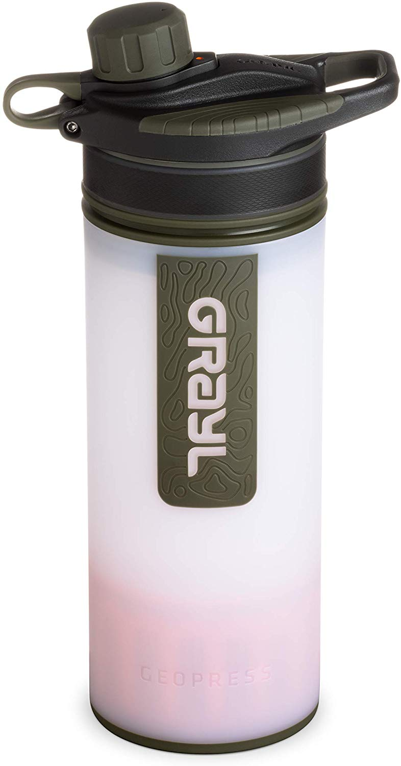 GRAYL Geopress 24 oz Water Purifier for Global Travel Backpacking Hiking and Survival - Alpine White