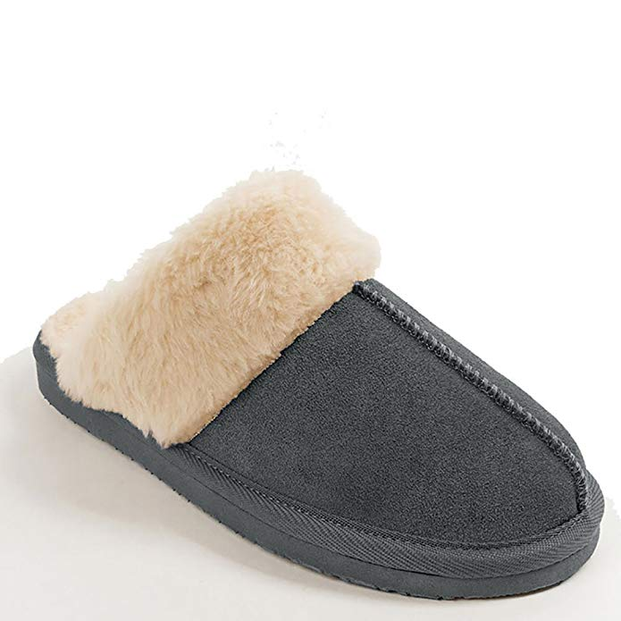 Minnetonka Womens Chesney Fur Lined Slippers - Charcoal - Size 9