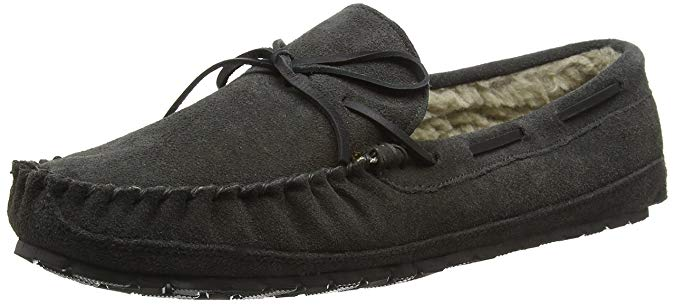 Minnetonka Mens Casey Slipper Charcoal Suede 11