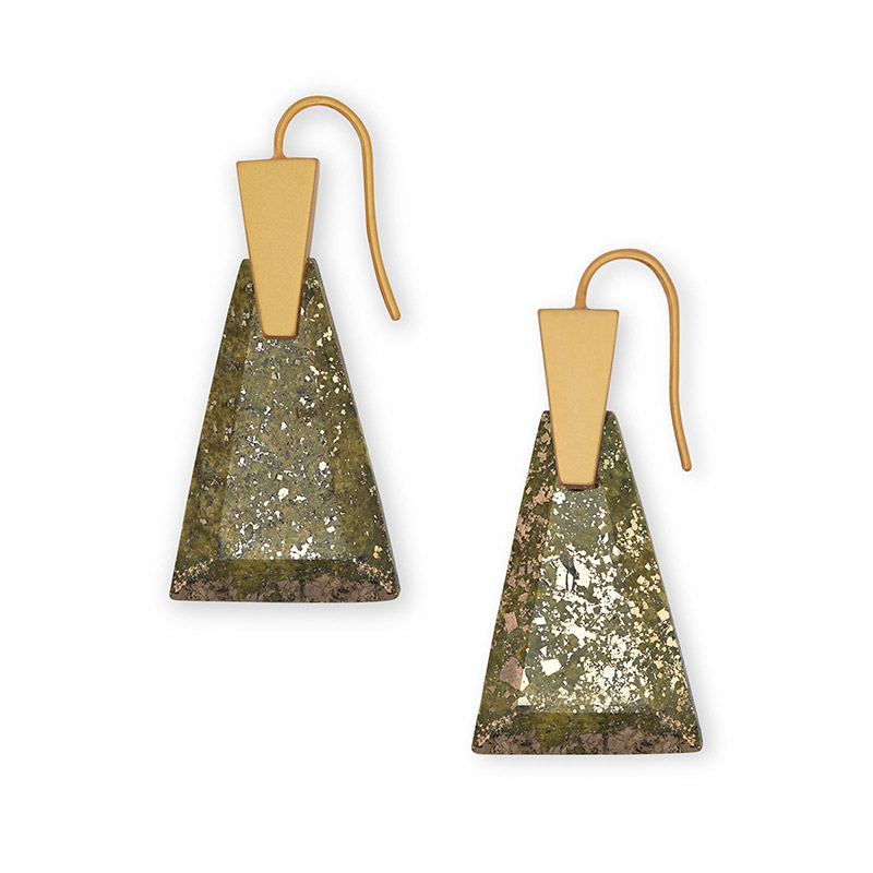 Kendra Scott Collins Small Olive Epidote Gold Tone Earrings - 4217703823