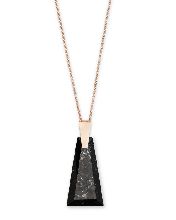 Kendra Scott Collins Black Granite Rose Tone Necklace - 4217703826
