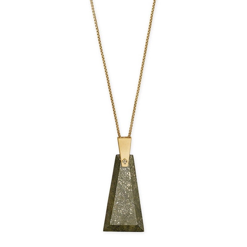 Kendra Scott Collins Long Olive Epidote Gold Tone Necklace - 4217703827